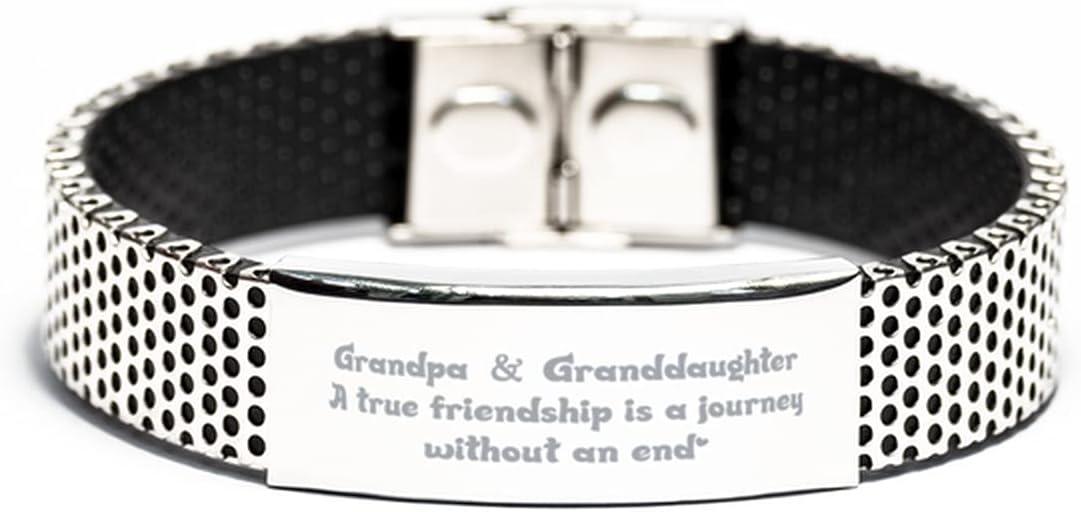 Inspirational Stainless Steel Bracelet, Grandpa & Granddaughter A True Friendship, for Grandpa Engraved Message