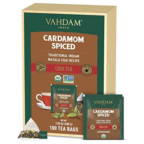 VAHDAM, Biologico Masala Chai al Cardamomo (100 Bustine di Tè) | 100% Cardamomo Macinato Fresco con Tè Nero di Prima Qualità | Miscela Originale Indiana | Tè Chai