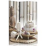 Feeby Frames Biombo Impreso sobre Lona, tabique Decorativo para Habitaciones, a una Cara, de 3 Piezas (110x150 cm), Buda, Cultura, Vela, Zen, Moderno