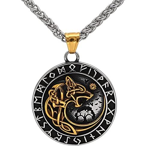 YOROOW-OUTDOOR Viking Herren Edelstahl Fenrir Wolf Rune Halskette Nordische Amulett Schmuck, 24 Zoll Kette