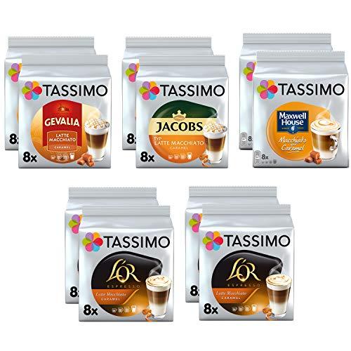 Tassimo Kaffee Latte Macchiato Karamellmischung - Jacobs Typ / Gevalia / Maxwell House / L'OR Latte Macchiato Karamell Kaffeepads - 10 Packungen (80 Portionen)