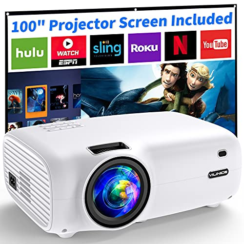 Projector, VILINICE 6500 Lux Mini Projector with Screen, 100,000 Hours...
