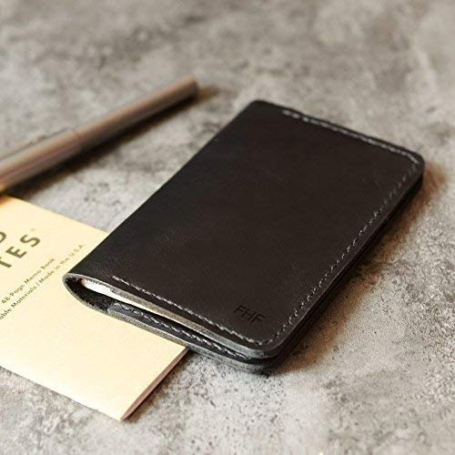 """Leather Journal Cover for Moleskine Cahier Notebook Pocket size 3.5"""" x 5.5"""" Field Notes Cover Vintage Refillable Notepad black"""