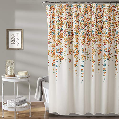 """Lush Decor Weeping Flower Shower Curtain-Fabric Floral Vine Print Design, x 72"""", Turquoise and Tangerine, Turquoise & Tangerine"""