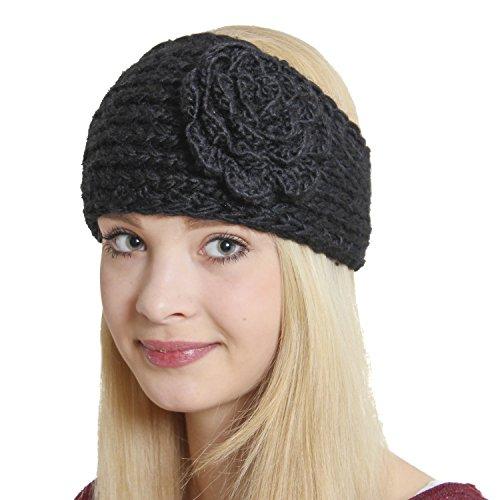 Brubaker Strick Stirnband Headband mit extragroßer Vintage Blume Schwarz