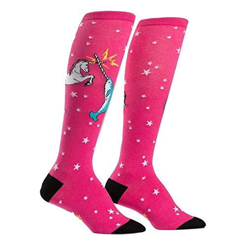 Sock It To Me Womens Knee High Funky Socks (Unicorn vs. Narwhal f0272)