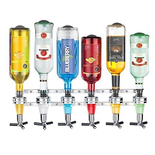 yryu Barra de Licor de 6 Estaciones montada en la Pared, dispensador de Vino de mayordomo, máquina de Beber, Barra de Inicio, Herramientas de Bar para Cerveza, refresco, Coca Cola