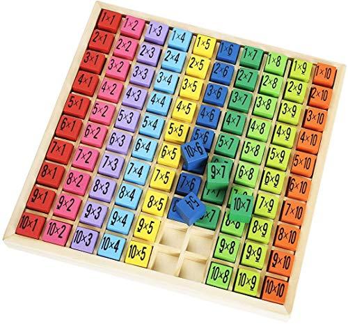Math en Bois et Table de Multiplication Jeu de société, d'apprentissage préscolaire Enfants Jouets Cadeaux - 100 Cubes en Bois Blocs de Construction