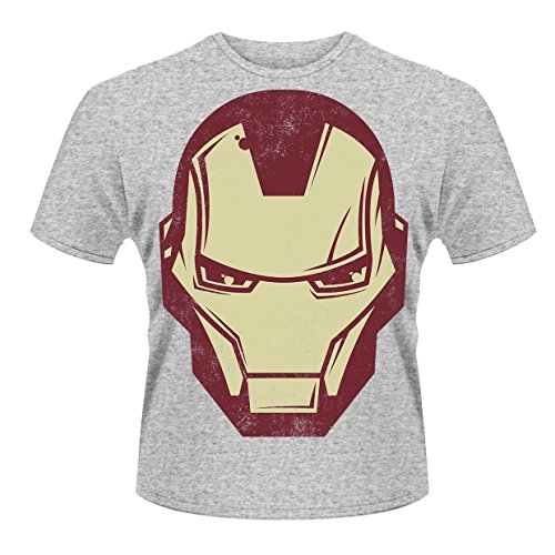 Plastic Head Marvel Avengers Assemble Iron Man Mask T-Shirt, Gris, (Taille Fabricant: Large) Homme