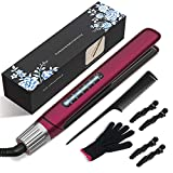 Flat Iron, CHGeek Hair Straightener Curler 2 in 1 Ceramic Tourmaline Titanium Flat Iron for Hair Fast Heating-up Temp 265 to 450℉ Straightening Iron 100-240V Dual Voltage for Travel - Burgundy Red