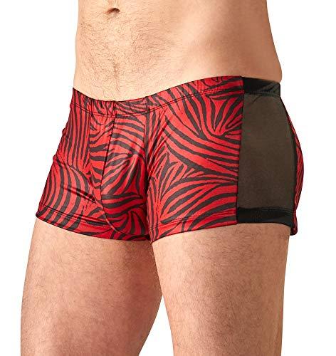 Orion Herren Pants - erotische Boxershorts für Männer, mit Zebra-Muster, hauteng, in Schwarz und Rot (S)