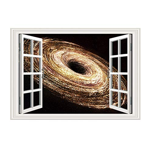 HYYDHD 3D-raam gebroken muur wonderbare cosmische ruimte zwart gat muursticker behang kinderkamer aftrekafbeelding wooncultuur bordeaux