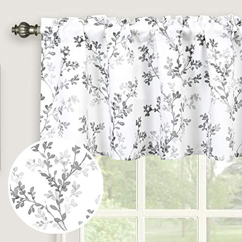 Inselnwald Watercolor Botanical Flowers Leaves Printed Valances for Windows, Rod Pocket Window Treatments Valances for Kitchen Cafe Living Bathroom 52 Inch by 18 Inch, Gray