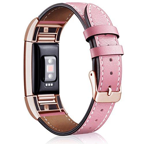 Mornex Ersatzarmband für Fitbit Charge 2, Lederarmband, klassisches verstellbares Ersatzarmband, Fitness-Zubehör mit Metall-Steckern