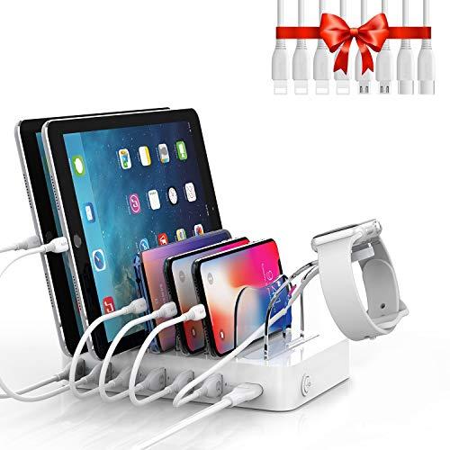 Soopii QC 3.0 - Estación de carga USB de 6 puertos para más dispositivos, 8 cables de carga incluidos, soporte para cargador I-Watch, para teléfonos, tabletas y otros dispositivos electrónicos