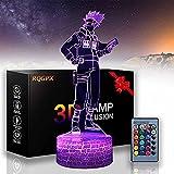 Hatake Kakashi A Naruto Lámpara 3D Ilusión Óptica Luz Nocturna USB 16 Cambio de Color Lámpara Decoración con Control Remoto y Smart Touch, Regalos de Navidad y cumpleaños
