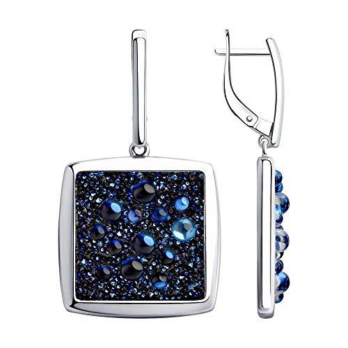 Mirkada - Pendientes de plata con cristales Swarovski, color azul