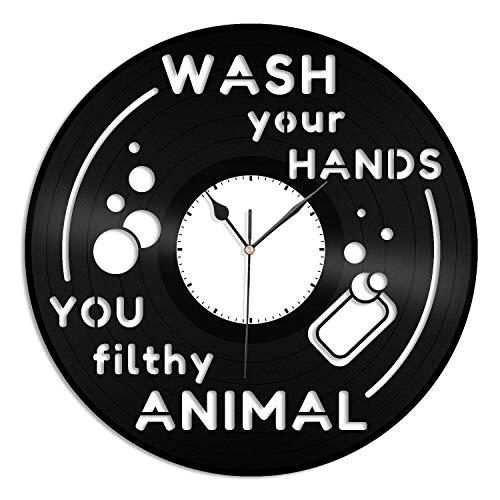 Wash Your Hands - Reloj de pared de vinilo para habitación infantil, hecho a mano, regalo único, para dormitorio, hogar, guardería, habitación de niños, decoración de pared