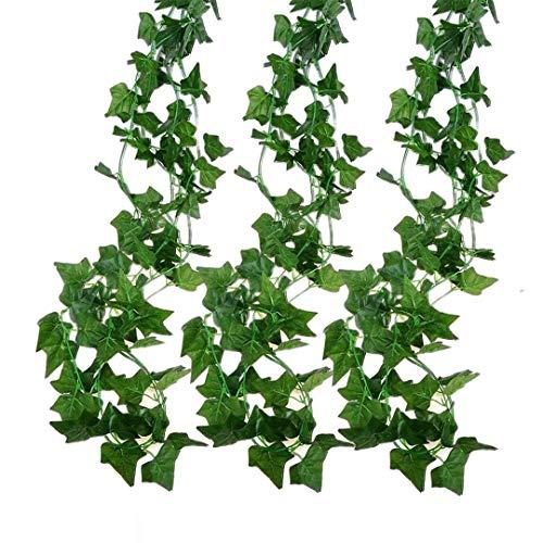 Deruxan 12 Stück Künstlich Efeu Hängend Girlande, Kunstpflanze Grün Efeugirlande mit 80 Blatt für Hochzeit,Garten, Party, Küche, Balkon, Wanddekoration (2.2M)