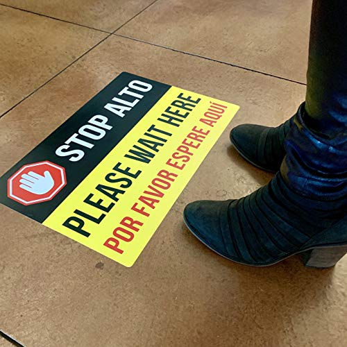 """Bilingual Social Distancing Floor Decal - Safety Floor Sign Sticker - 12"""" x 18"""" - 5 Labels per Pack"""