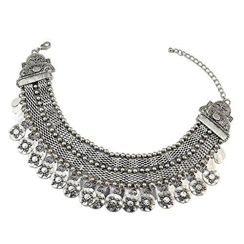 B Baosity Collar Ahogador de Estilo Étnico Bohemio Color Plata Accesorios de Moda para Mujer