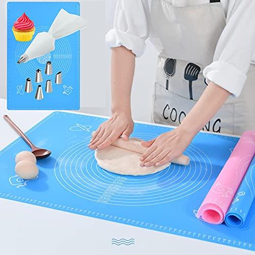 VLVEE Tappetino da Forno in Silicone Riutilizzabile Antiaderente 50 * 70cm & Set per Decorazione Torte,Extra Grande Stuoia di Pasticceria, Resistente al Calore, Facile da Pulire