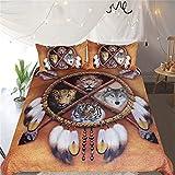CCBAO 3D Animal Print Hogar Textil Ropa De Cama Apartamento Lavable Textiles para El Hogar Funda Nórdica Lavable Funda De Almohada Conjunto De 3 Piezas 140x210cm(WxH) J