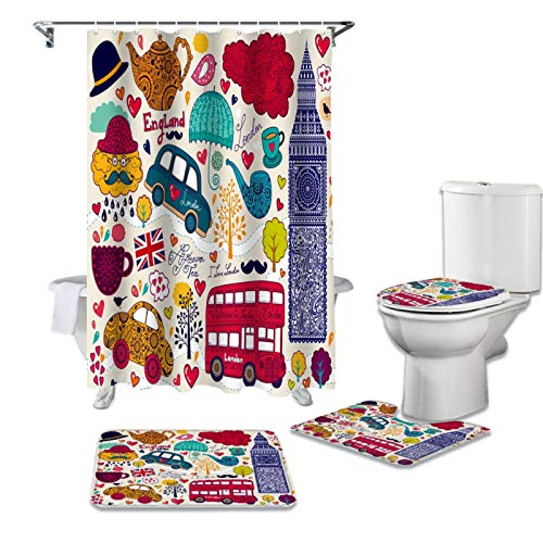 Comic-Print Duschvorhang, Badewannen-Dekor, Teppich, wasserdicht, Badezimmervorhang, WC-Deckelbezug, Matten-Set