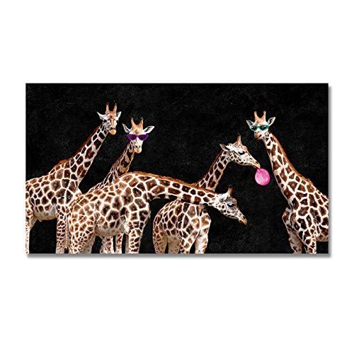 LYHNB Póster y Pintura 60x90cm sin Marco Animal Africano Colorido Gafas abstractas Jirafa imágenes artísticas de Pared para la decoración del hogar de la Sala de Estar