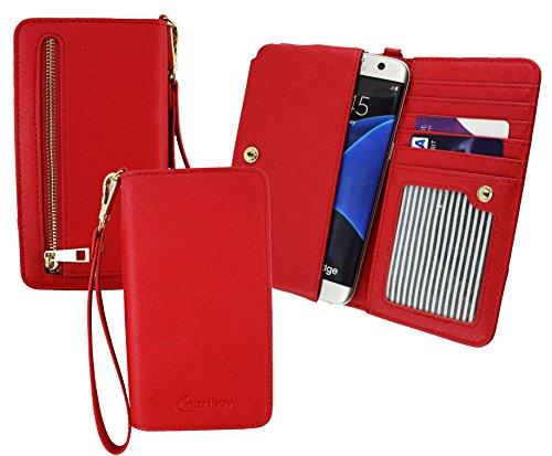 Emartbuy® Rot PU Leder Kupplung Geldbörse Pouch Tasche sleeve (Größe 3XL) Mit Münzfach, Kartensteckplätze & Abnehmbare Handschlaufe Passend für Siswoo A5 Chocolate 5 Zoll Smartphone