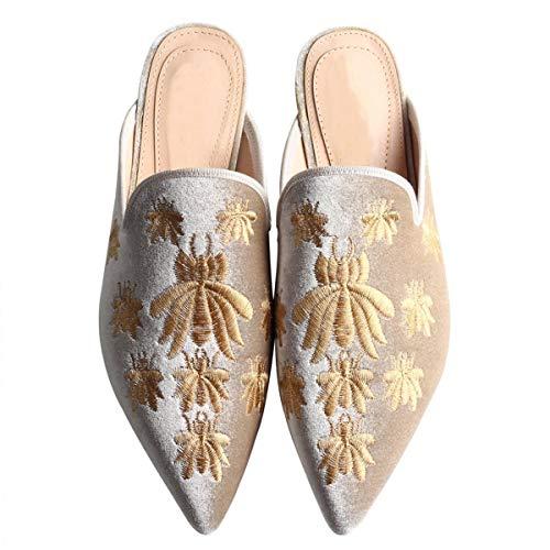Fericzot Damen Samt rückenfrei Spitze Spitze Schlupfschuhe Slipper Flats Stickerei Mule Hausschuhe Schuhe, Weiá (Aprikose), 37 EU