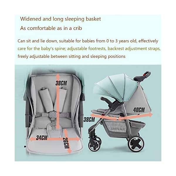 JINGQI Lightweight Folding Stroller Baby Stroller Children Can Sit And Recline Baby Portable Shock-Absorbing Trolley,Applicable Age 0-3 Years Old,Green JINGQI High-quality design: built-in shock absorber spring, flexible universal wheel, 360 degree rotation, PU wear-resistant shock-absorbing tires, five-point safety belt, detachable armrest, large storage basket, temporary storage rack Spacious seat, suitable for babies from 0 to 3 years old, sitting and lying freely, comfortable travel, cockpit and pedals can be adjusted Full sunshade, shelter children from wind and rain, and accompany them to travel safely 7