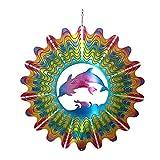 MMLC Edelstahl Deko Windspiel,3D-Edelstahl Delfin Kinetic Spinner,Wetterbeständig Windspiel hängend für Gartendekoration,Innen-/Außendekoration (Mehrfarbig)