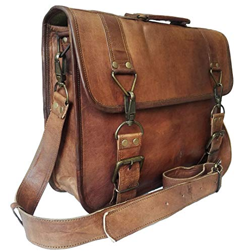16 Inch Vintage Handmade Leather Messenger Bag for Laptop Briefcase Best Computer Satchel School distressed Bag (brown)