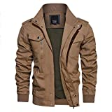 CRYSULLY Men Cotton Multi Pocket Stand Collar Outdoor Coat Lightweight Military Jackets Khaki/US L/Tag 3XL