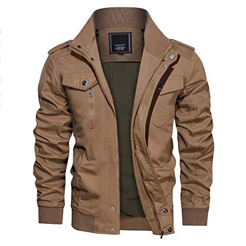 CRYSULLY Men's Fall Cotton Windbreaker Military Zipper Bomber Cargo Jacket Air Force Coat Khaki/US S/Tag L