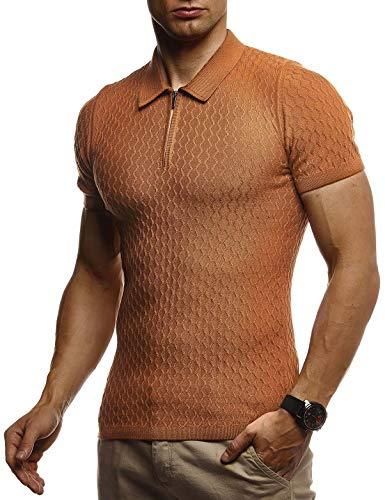 Leif Nelson Herren Sommer T-Shirt Poloshirt Slim Fit aus Feinstrick Cooles Basic Männer Polo-Shirt Crew Neck Jungen Kurzarmshirt Polo Shirt Sweater Kurzarm LN7315 Camel Medium