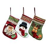 Wohlstand Juego de 3 Calcetines de Navidad Regalode Decoración Bordado,Santa Claus,Muñeco de Nieve,y Alce Bolsa,Mini Botas Bolsillo Calcetín de Tartán de Felpa Roja Para Presenta la Colgante del árbol