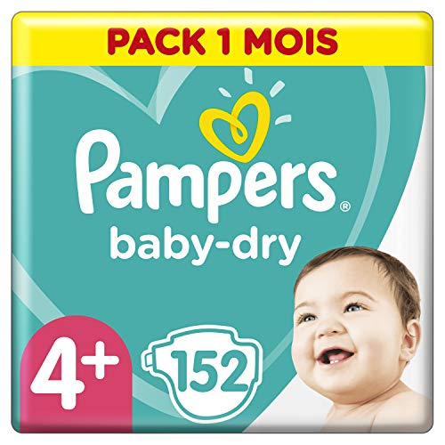 Pampers Baby Dry Couches Taille 4+ (10-15kg), 152 Couches, Pack 1 Mois, Jusqu'À 12 h De Protection