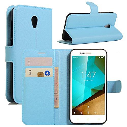 Vodafone Smart Prime 7 Hülle, HualuBro [Standfunktion] [All Aro& Schutz] Vodafone Smart Prime 7 Schutzhülle, Premium PU Leder Wallet Flip Tasche Hülle Cover mit Karten Slot für Vodafone Smart Prime 7 Smartphone (Blue)