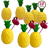 GiftExpress 12-Pack Plastic Pineapple Cups with Flamingo Straws, Hawaiian Party Cups Luau Aloha Party Favor