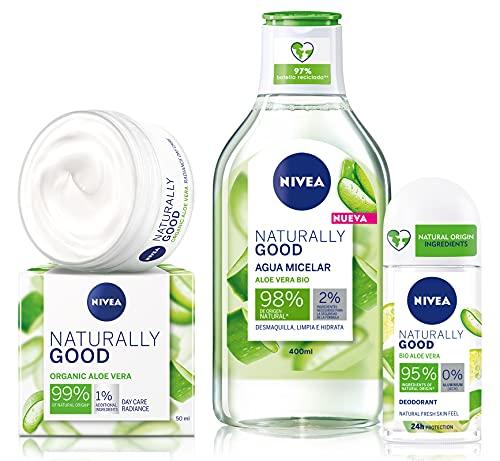 NIVEA crema día + Agua micelar + Good Desodorante con Aloe Vera Bio