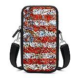Bolso bandolera para teléfono móvil con correa de hombro extraíble, bandera americana resume bolsa a prueba de sudor para llave muñeca monedero Yoga Bolsas hombres
