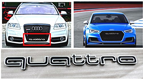 MAX WHOLESALE AD-QTB RS Style Front Quattro Emblem Grille Badge for Audi A1 A3 A4 A5 A6 A7 A8 Q3 Q5 RS Grille (Black)