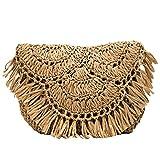 Bolso de paja con borla, bolso cruzado tejido a mano para mujer, bolso de hombro de playa de verano, bolso hecho a mano tejido a ganchillo (Color : Brown)