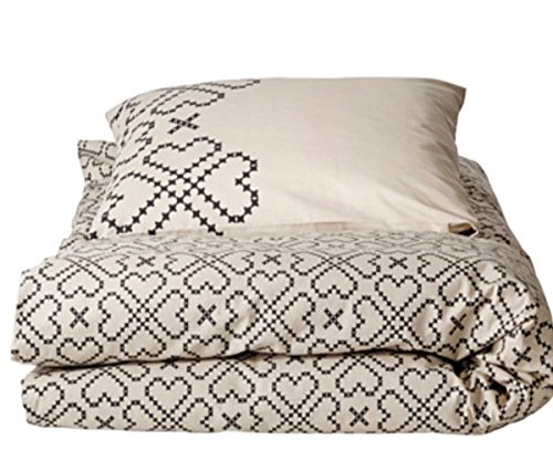 Ikea Ryssby 2014 Duvet Cover and Pillowcases, Twin Beige and Black