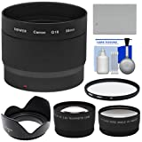 Bower LA-DC58L Conversion Adapter Tube (58mm) with Battery + Wide Angle & Telephoto Lenses + UV Filter + Hood + Cleaning Kit for Canon PowerShot G15 & G16 Digital Camera