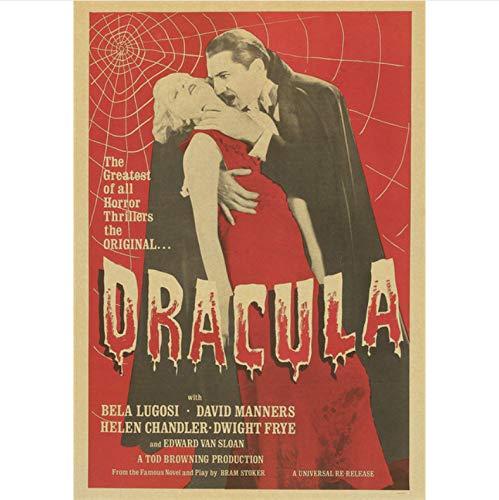 Li han shop Dracula Horror Movie Classic Vintage Poster Home Decoration Retro Wall Poster Picture Print Home Wallpaper B65 40X50Cm Sin Marco