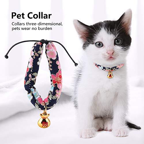 Nannday Stilvolles dreidimensionales Druckhalsband Halsband im japanischen Stil, bequemes Katzenhalsband aus weichem Stoff, Haustierkatze für Hundehalsband(Blue M)
