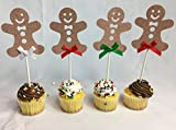 Cake Topper Cup Cake Holiday Party Christmas Decoration Dessert Topping (Gingerbread man's)